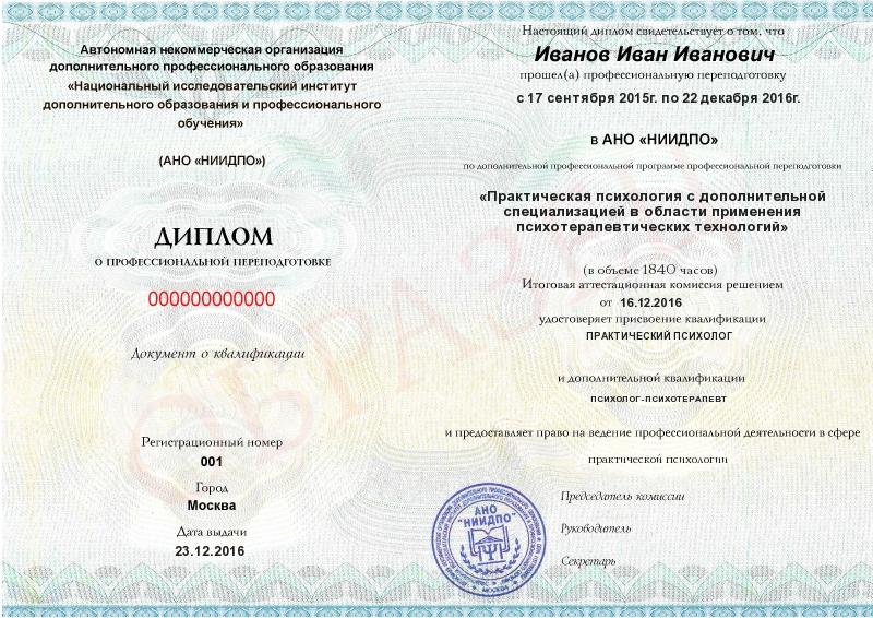 квалификации дистанционное обучение Диплом Практическая психология